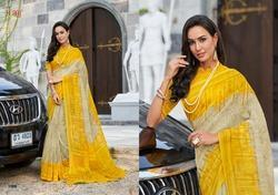 Yellow Cotton Linen Sarees
