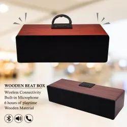 Microphone Rectangular Wooden Beat Box Bluetooth Speaker