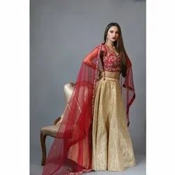SHEZA Party Wear SZLN23 Red and Golden Silk Lehenga Choli