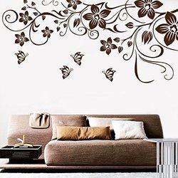 Decor Kafe Home Decor Butterfly Floral Wall Sticker, Wall Sticker For Bedroom, Wall Art, Wall Poster