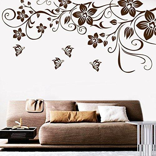 Decor Kafe Home Decor Butterfly Floral Wall Sticker Wall Sticker For Bedroom Wall Art Wall Poster