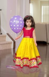 Party Wear Kids Red and Yellow Silk Ikkat Lehenga