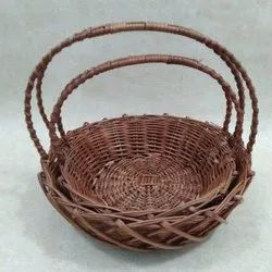 Brown Round Willow Basket With Double Handle, For Event