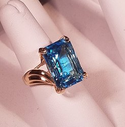 Natural Blue Topaz Ring