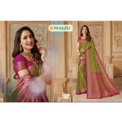 Party Wear Printed Rosy 412 Rajguru Ladies Sarees, With blouse piece