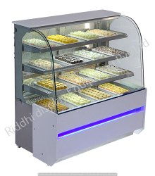 Stainless Steel Riddhi Curved Glass Display Counter, For Sancks & Sweet
