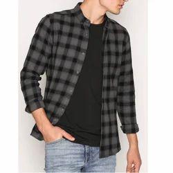 Casual Wear Checks Men Fancy Check Shirt, Packaging Type: Plastic Bag