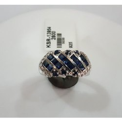 Blue Sapphire Silver Finger Ring