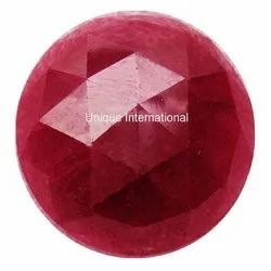 Indian Dyed Ruby Round Rose Cut Cabochon Gemstone