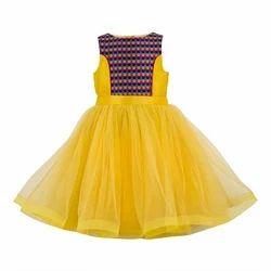 Girls Yellow Dress, Age: 5-7 Year