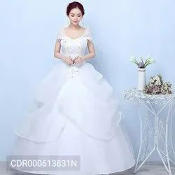 DPCOLLECTIONS Simple Bride Wedding Flower Lace Sweetheart Floor Length Ball Gown Bridal Dresses