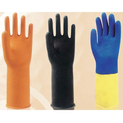 Heavy Duty Flock Lined Rubber Hand Gloves