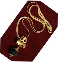 Kesar Zems Rudraksha Pendant With Damaru Attached To Lord Shivas Trishul Golden Plated