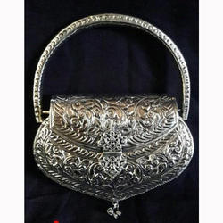 Ladies Party Wear Purse Antique Silver