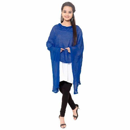 Multicolor Plain Navy Blue Color Cotton Dupatta For Women 2cf79661e