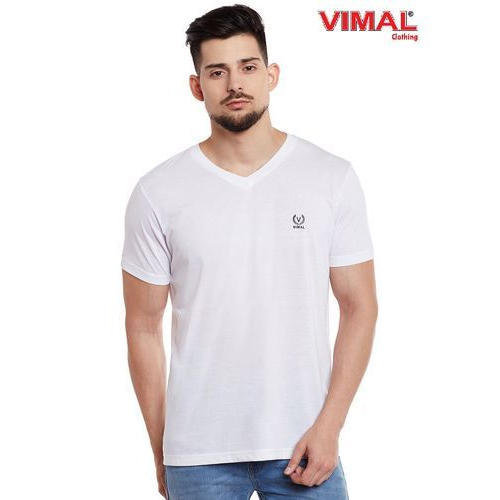 e00c08077e9 Plain Vimal White V Neck Cotton T Shirt For Men
