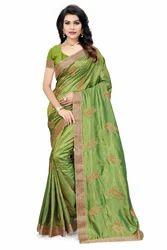 Embroidered Fashion Pure Silk Green Saree
