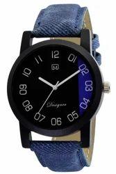 Om Designer Analogue Round Black Dial Blue Belt Watch for Mens & Boys OM212115