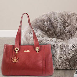 Fashionable Leather Handbag Color Available Pink Red