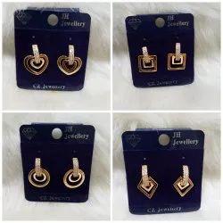 Artificial Diamonds Daily Wear Rose Gold Earrings, Packaging Type: Box