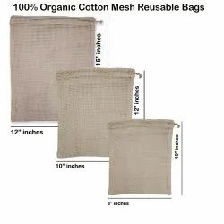 100% Organic Cotton Mesh Reusable Bag