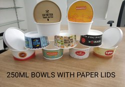 Ishwara Round 250ml Paper Bowls With Paper Lids, For Hotel