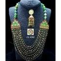 Cl Code Bollywood Designer Red Green Agate Imitation Fashion Jewelry  Onex Rani Haar Necklace Set