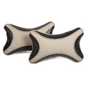 Beige and Black Rexine Neck Pillow