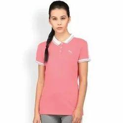 Plain Half Sleeve Ladies Collar Corporate T-Shirts