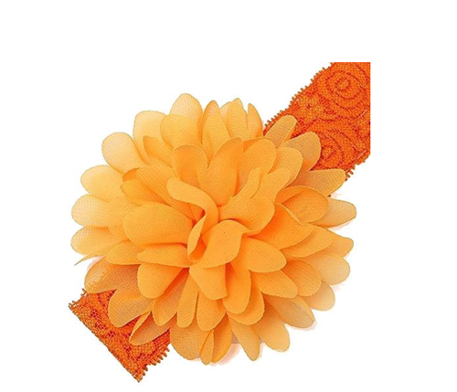 BABY HEAD BAND SOFT TOUCH FLOWER PEARL ORANGE GREEN YELLOW