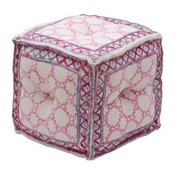 Handcrafted Embroidered Cotton Printed Pouf