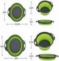 2-Piece Collapsible Colander-Retractable Folding Fruit Blue Folding Drain Basket Kitchen