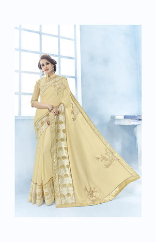 0d0365f90d Beige Silk Georgette Plain Party Wear Saree, Rs 1335 /piece   ID ...