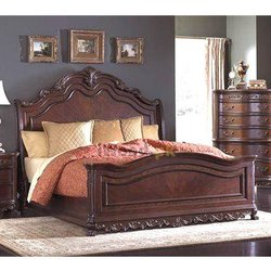 明星柚木柚木木制双人床,尺寸:6x6.5英尺