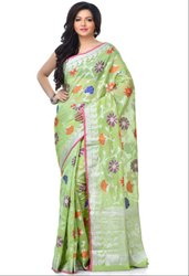 Green Chanderi Resham Zari Work Banarasi Saree