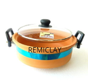 Golden Brown Clay Extra Large Handi With Glass Lid, For Idli Cooking, For Cooking