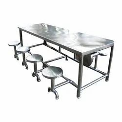 Stainless Steel With Mild Steel Eight Seater Canteen Table