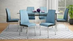 Metal Blue Dinning Room Chair, Set Size: Set of 6