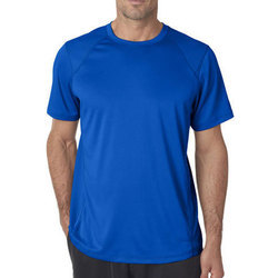 Casual Wear Cotton Mens Blue Round Neck T Shirt, Packaging Type: Packet
