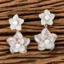 White Rose Gold Plated Cz Classic Earring 405580