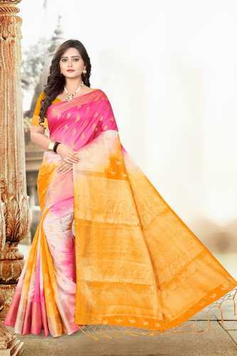 4d82b07644 Banarasi Cotton Silk Multicolor Party Wear Saree with Blouse Piece, Length:  6.3 m