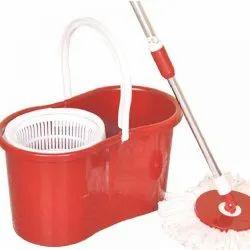 Red Plastic Bucket 360 Degree Mop