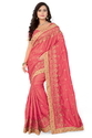 Paper Silk  Designer Pallu Embroidered Work Pink Color Saree