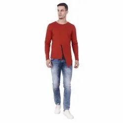 Round Neck Full Sleeves Cross Zip T-Shirt