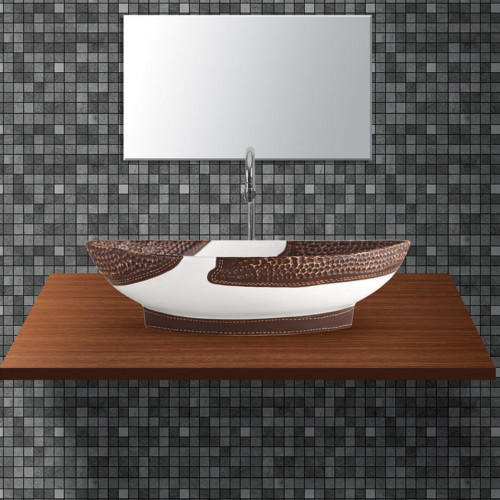 White And Brown Ceramic Designer Table Top Wash Basin, Rs 12 ...