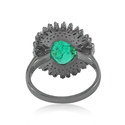 Natural Green Emerald Pave Diamond Baguette 925 Solid Silver Designer Ring