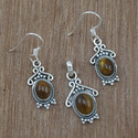 Handmade Tiger Eye Gemstone Sterling Silver Jewelry Nice Set