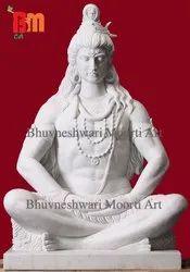 Marble Shiva Statue in Dhyan Mudra of Mahadev