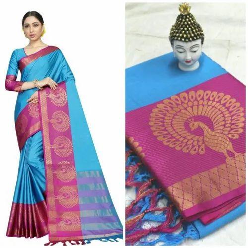 8a3e4a92b0bfb5 Multicolor Exclusive Cotton Silk Peacock Design Saree, Length: 5.5 m  Separate Blouse Piece