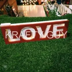 Handcrafted Lighted Rustic Love, Size: 5 By 12